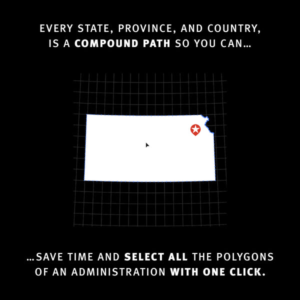 Every state, province, and country, is a compound path so you can save time and select all the polygons of an administration with one click.