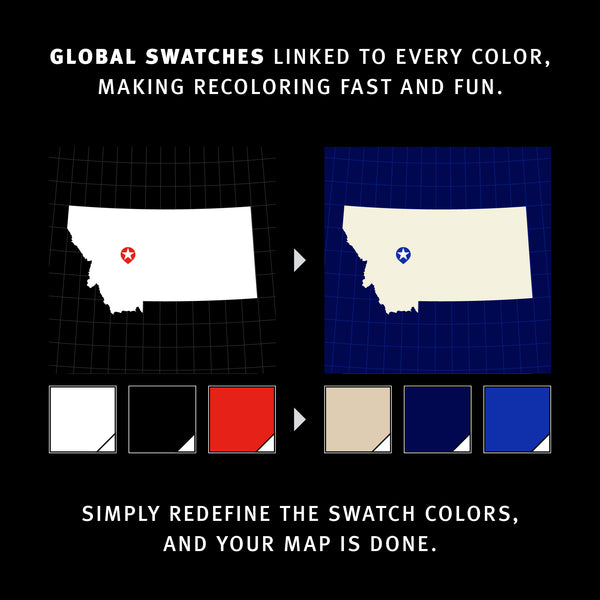 Global Swatches linked to every color, making recoloring fast and fun. Simply redefine the swatch colors, and your map is done.