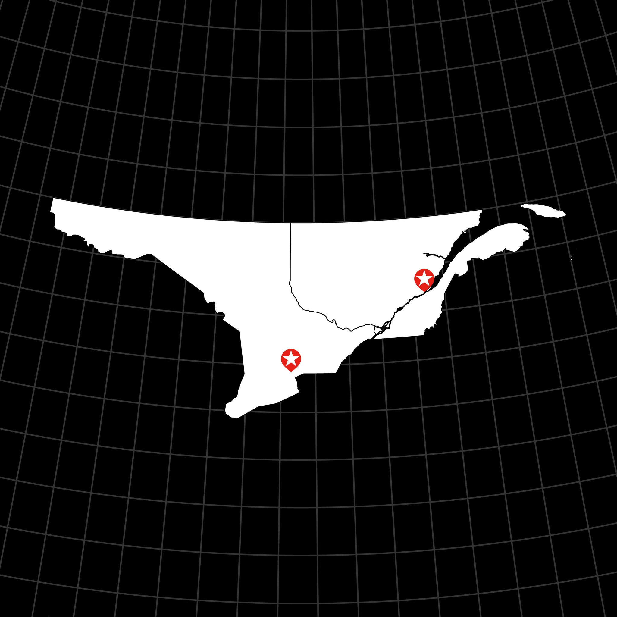Digital Vector Map of Southeastern Canada