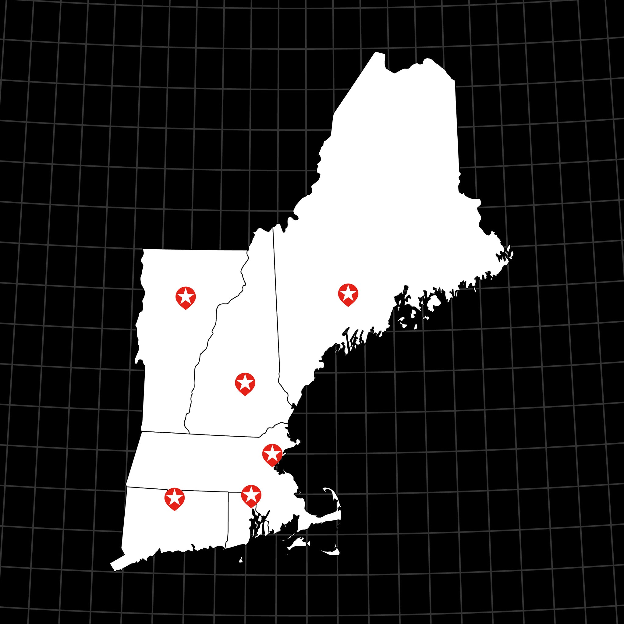 Digital Vector Map of USA: New England States