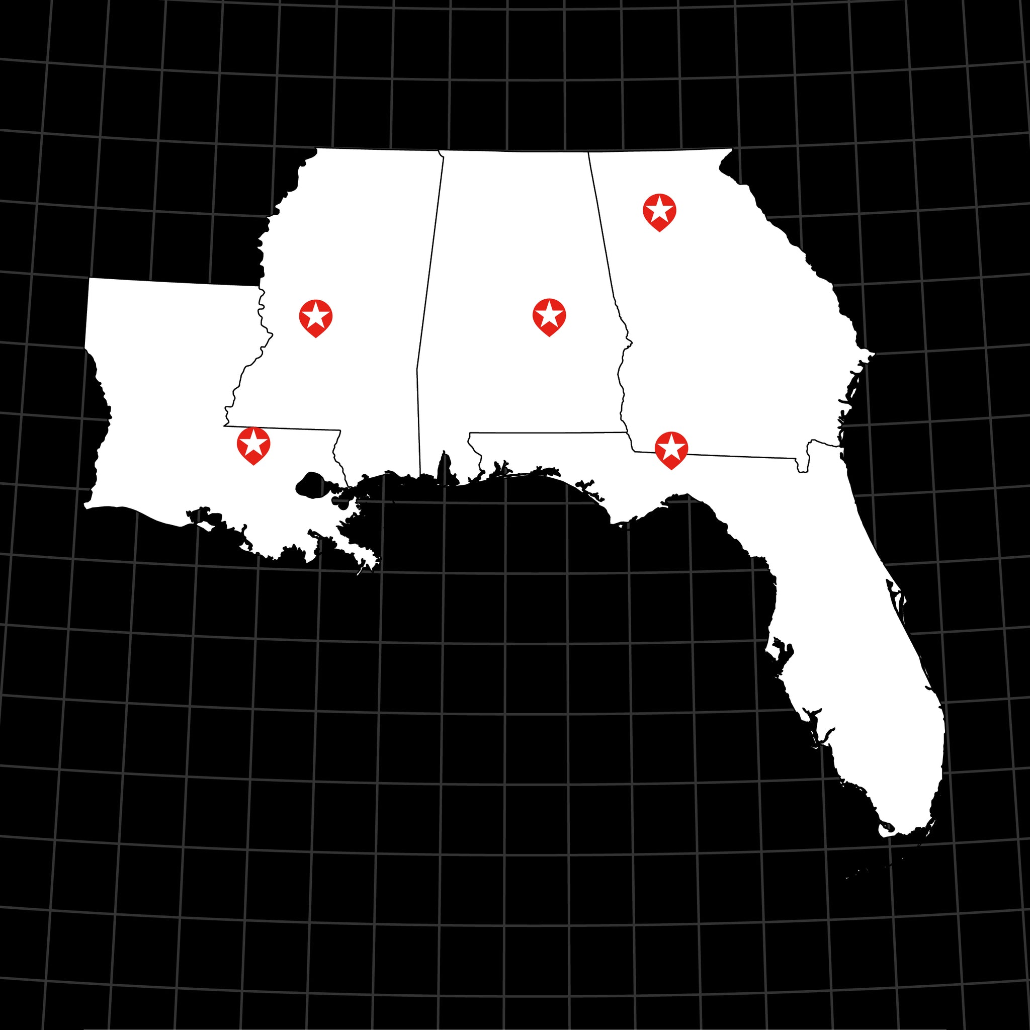 Digital Vector Map of USA: Southern States