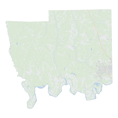 Royalty-free, digital vector street map of Autauga County, Alabama.