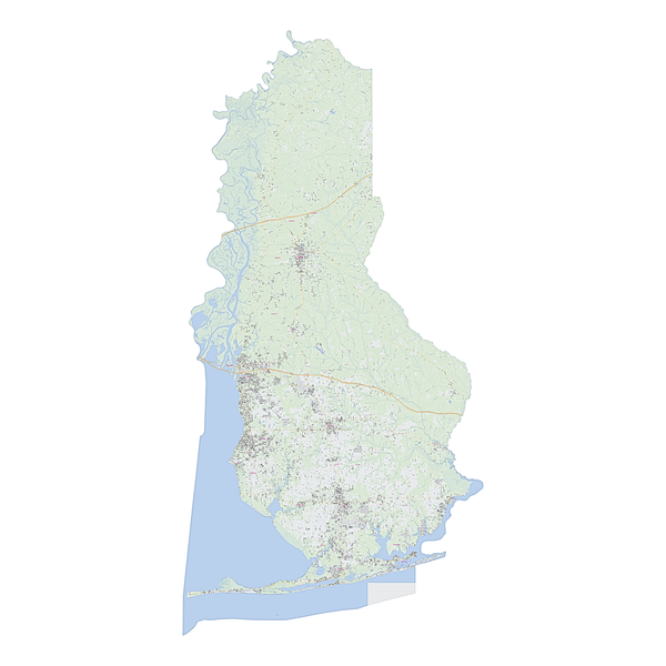 Royalty-free, digital vector street map of Baldwin County, Alabama.