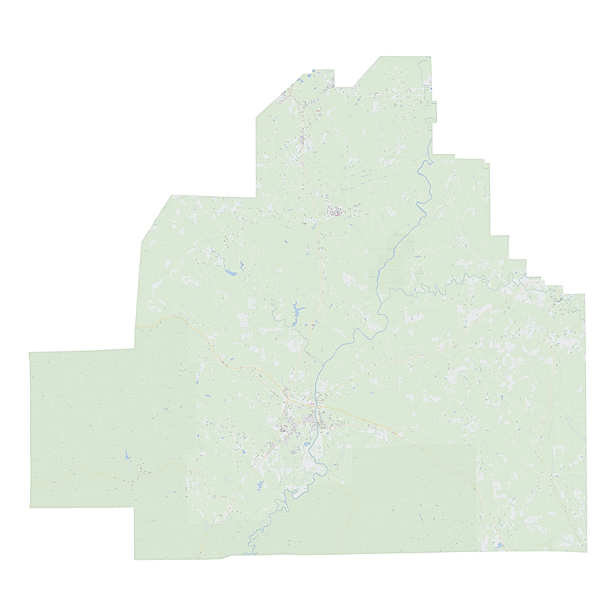 Royalty-free, digital vector street map of Bibb County, Alabama.