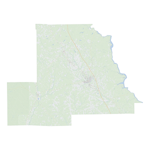 Royalty-free, digital vector street map of Chilton County, Alabama.