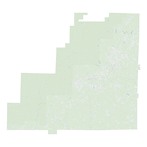 Royalty-free, digital vector street map of Clay County, Alabama.
