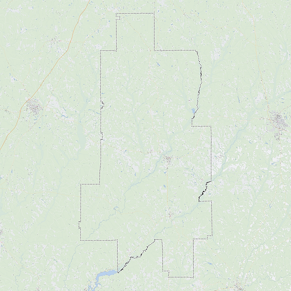 Royalty-free, digital vector street map of Crenshaw County, Alabama. Shown with surrounding area.