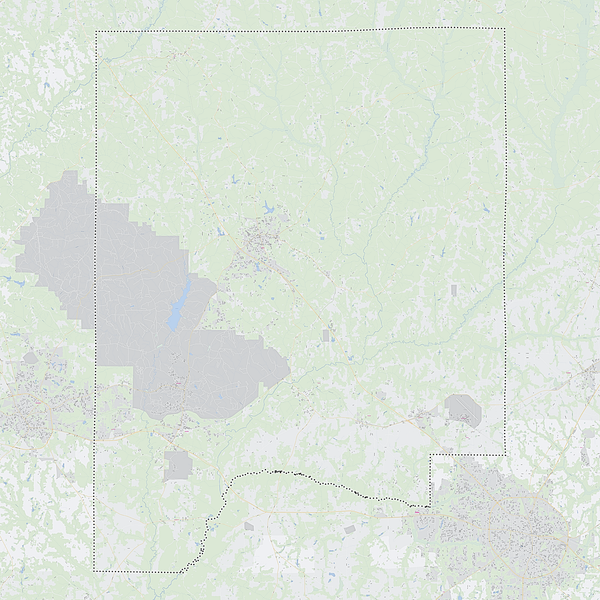 Royalty-free, digital vector street map of Dale County, Alabama. Shown with surrounding area.