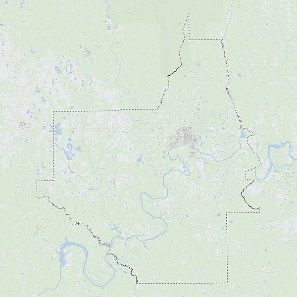 Royalty-free, digital vector street map of Dallas County, Alabama. Shown with surrounding area.