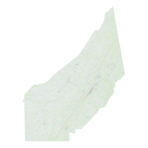 Royalty-free, digital vector street map of DeKalb County, Alabama.