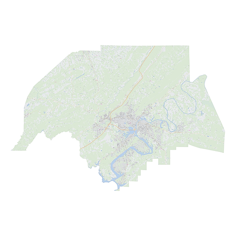 Royalty-free, digital vector street map of Etowah County, Alabama.
