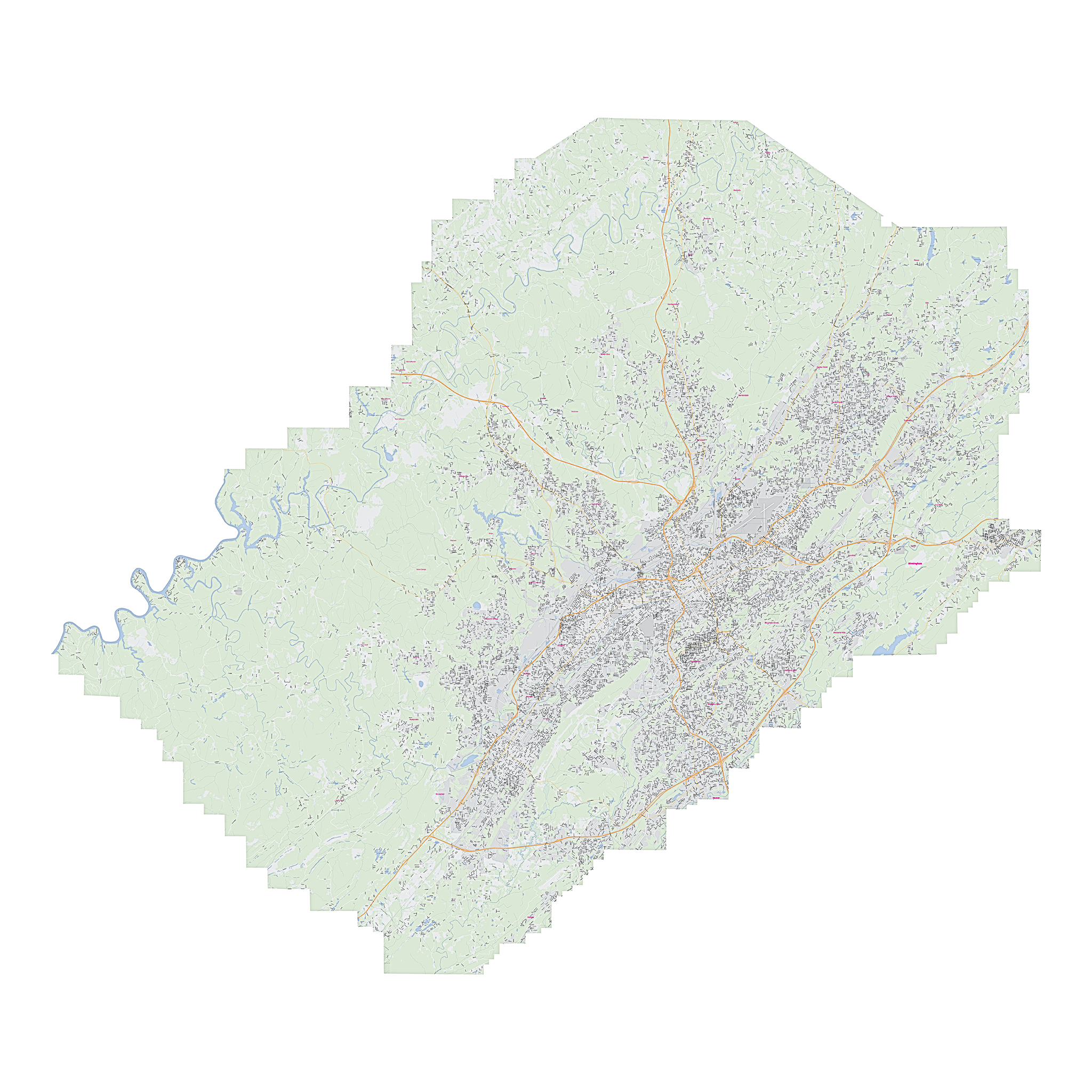 Royalty-free, digital vector street map of Jefferson County, Alabama.