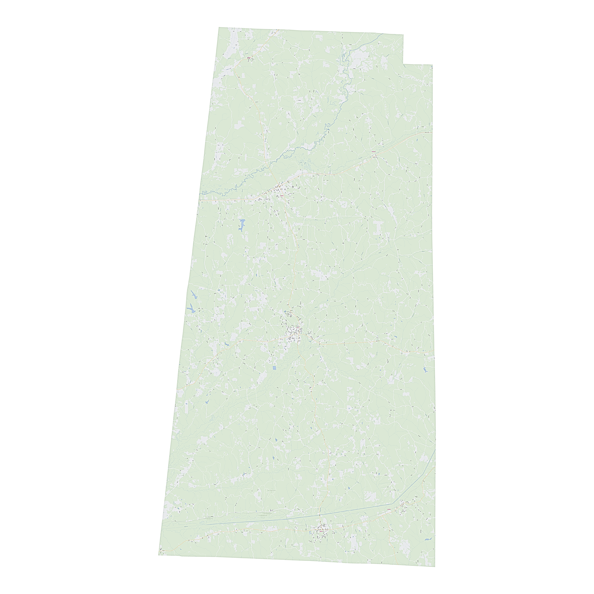 Royalty-free, digital vector street map of Lamar County, Alabama.