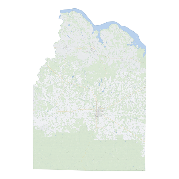 Royalty-free, digital vector street map of Lawrence County, Alabama.