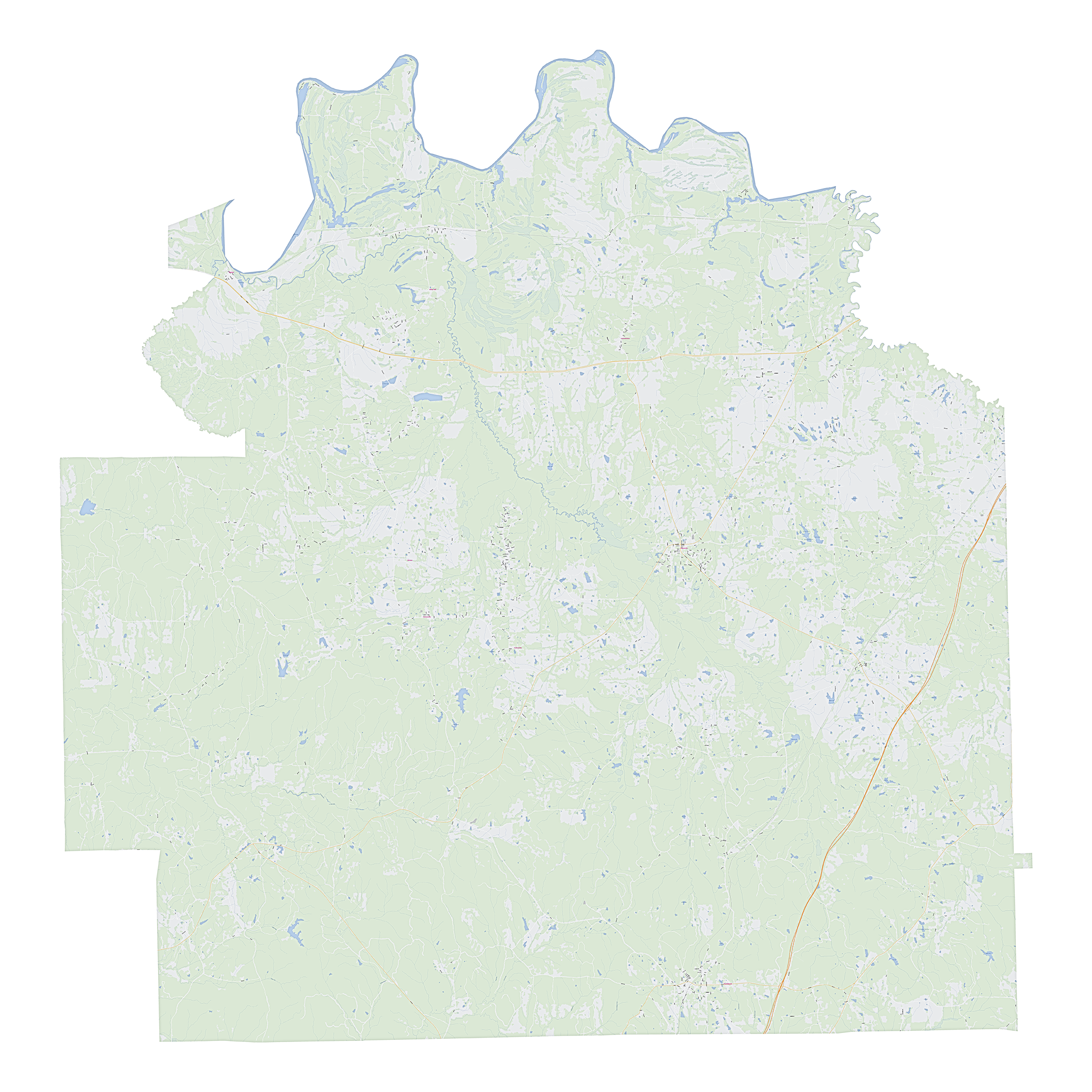 Royalty-free, digital vector street map of Lowndes County, Alabama.