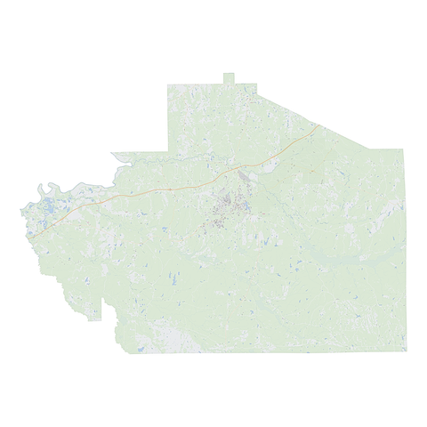 Royalty-free, digital vector street map of Macon County, Alabama.