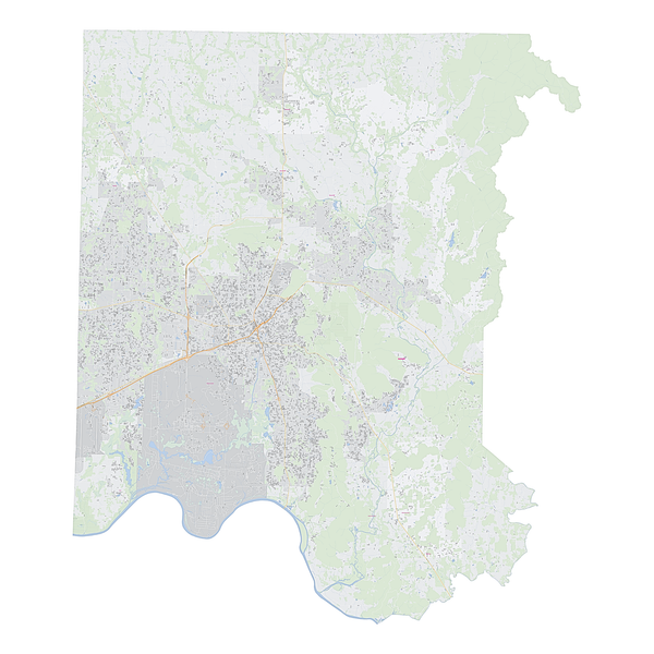 Royalty-free, digital vector street map of Madison County, Alabama.
