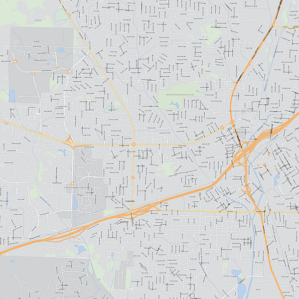 Royalty-free, digital vector street map of Madison County, Alabama. Partial close-up of the map.