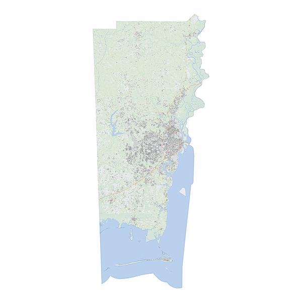 Royalty-free, digital vector street map of Mobile County, Alabama.