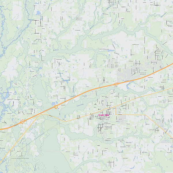 Royalty-free, digital vector street map of Mobile County, Alabama. Partial close-up of the map.