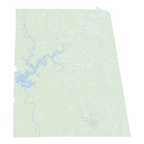 Royalty-free, digital vector street map of Randolph County, Alabama.