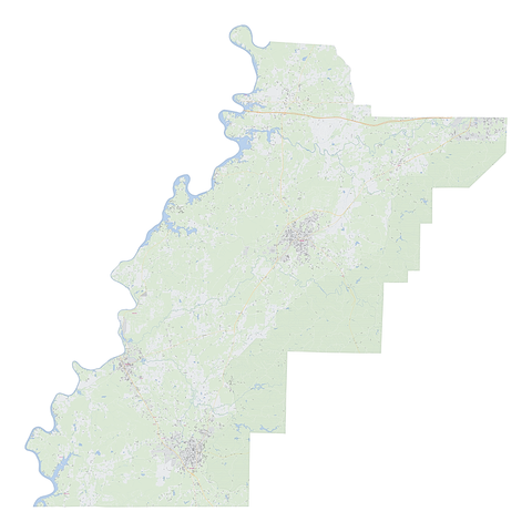 Royalty-free, digital vector street map of Talladega County, Alabama.