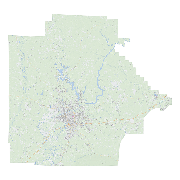 Royalty-free, digital vector street map of Tuscaloosa County, Alabama.