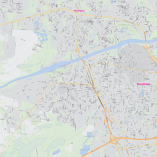 Royalty-free, digital vector street map of Tuscaloosa County, Alabama. Partial close-up of the map.