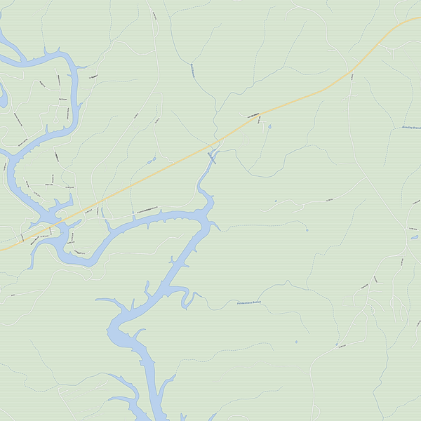 Royalty-free, digital vector street map of Winston County, Alabama. Partial close-up of the map.