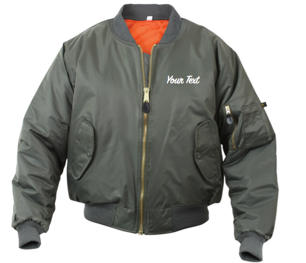 5bfbddbc3e12f Personalized Custom Bomber Jacket (Front Embroidery)