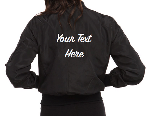 Personalized Custom LIGHTWEIGHT Bomber Jacket (Front and Back Embroidery)
