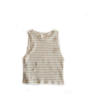 Pocket Tank Macadamia Striped Gray