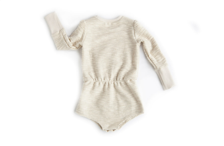 Puff Sleeve Romper Natural