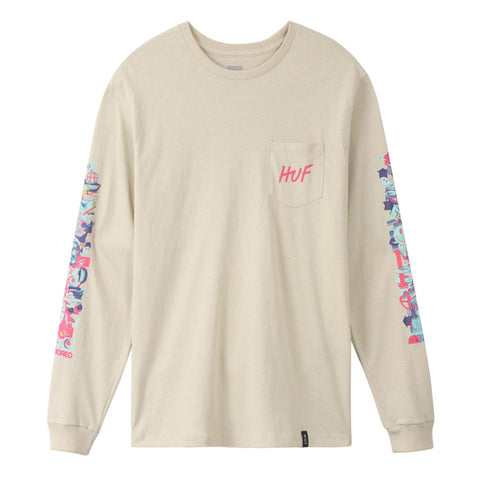 SHORT TERM L/S POCKET TEE OYSTER WHITE