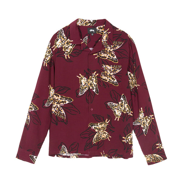 1110003BURG BUTTERFLY LS SHIRT - BURGUNDY