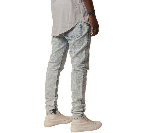 ACID WASH ANKLE ZIP JEANS