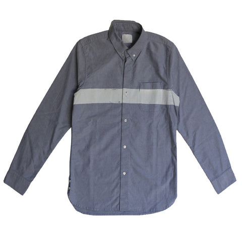 BOARDER PRINTED OX SHIRT NAVY