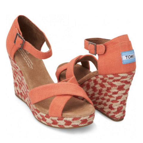 CORAL MIXED ROPE STRAPPY PLATFORM WEDGE