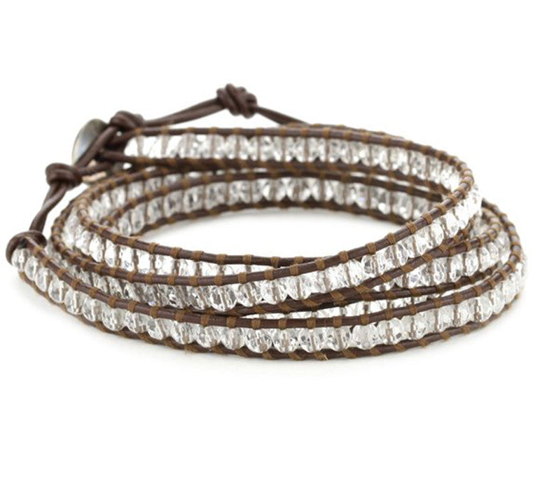 Clear Quartz Leather Wrap Bracelet