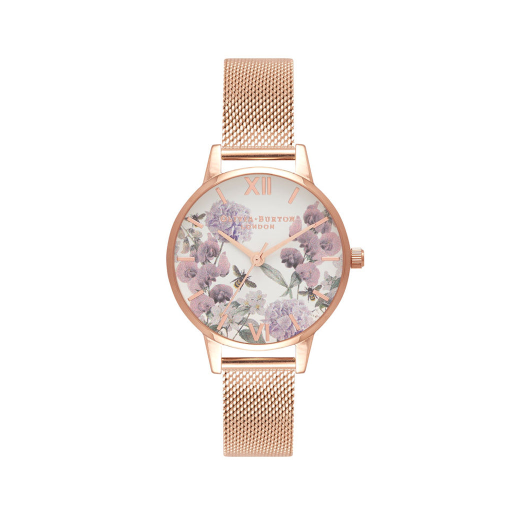 Midi Enchanted Garden Bee Blooms Rose Gold Mesh Watch OB16EX90