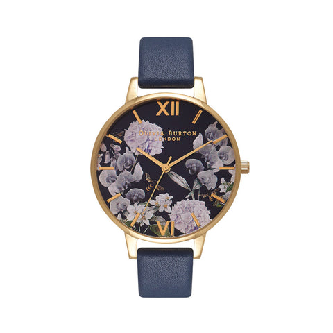 Enchanted Garden Bee Blooms Midnight Dial & Gold Watch OB16EG55
