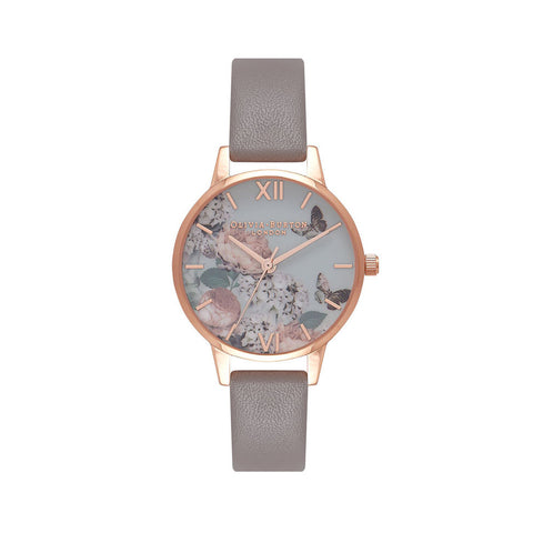 Midi Signature Floral London Grey & Rose Gold Watch OB16EG67