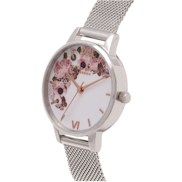 Signature Floral Silver Mesh Watch OB16WG30