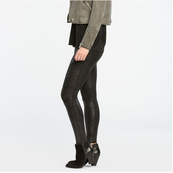 Faux Leather Moto Leggings - BLACK