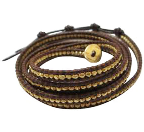 Gold Tone Wrap On Natural Brown Leather Bracelet