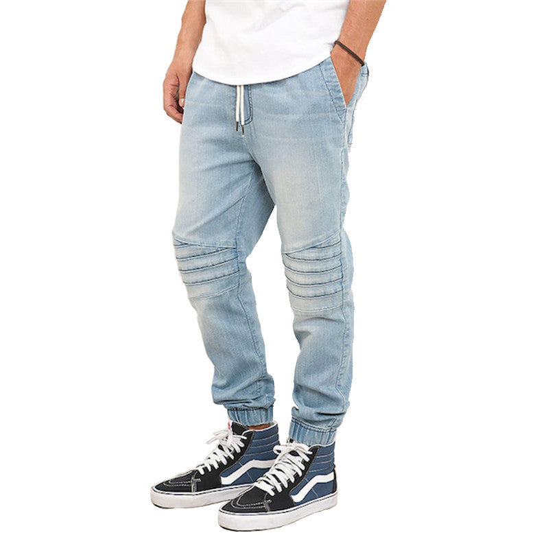 Light Blue Biker Denim Moto Jogger Pant