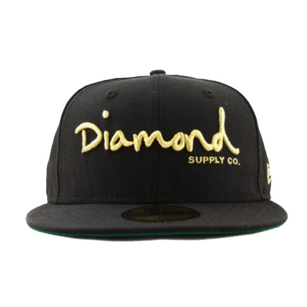 OG Script Black Gold Embroidered Fitted Hat Wool Cap