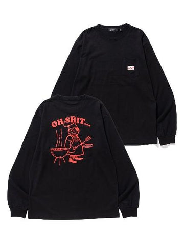 L/S POCKET TEE OH SHIT BLACK