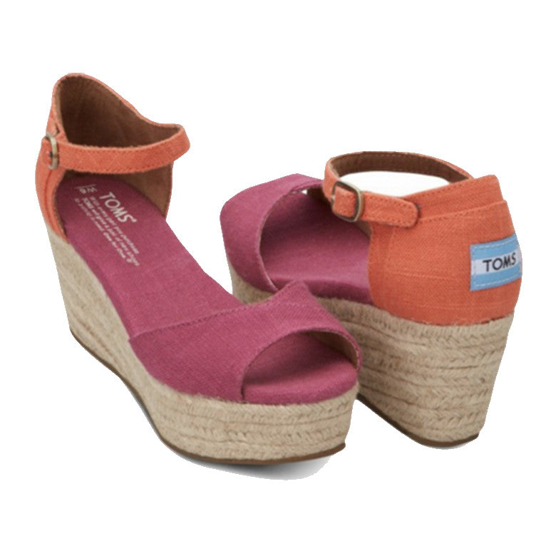 Pink Mix Vegan Womens Platform Wedges