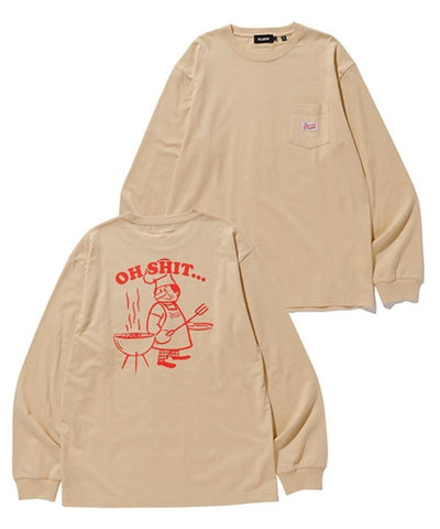 L/S POCKET TEE OH SHIT BEIGE